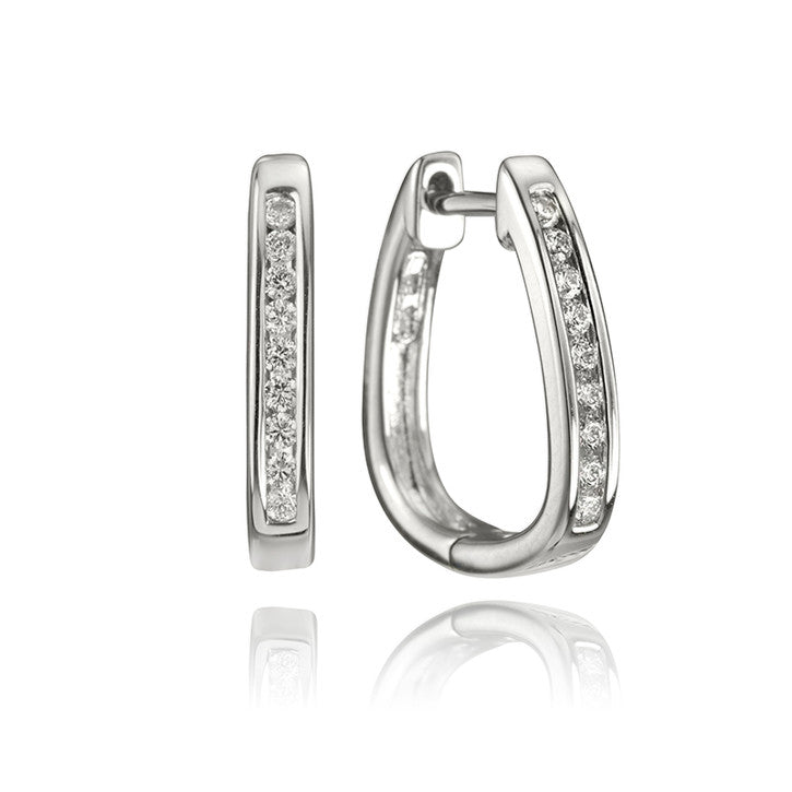 14K White Gold and Diamond Huggie Hoop Earrings