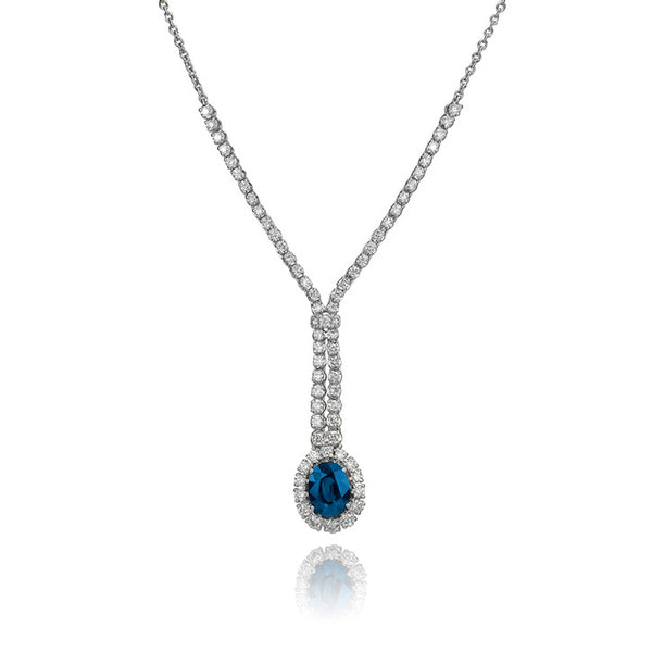 14K White Gold Diamond and Sapphire Drop Necklace