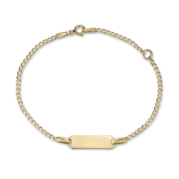 14K Yellow Gold Curb Link ID Bracelet