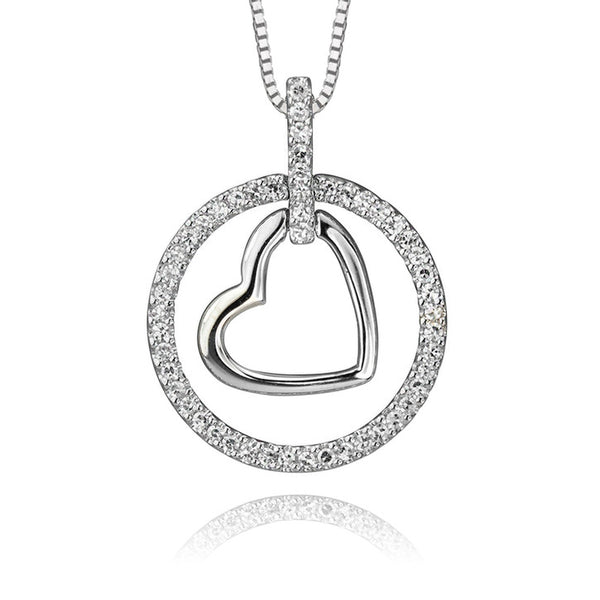 14K White Gold Diamond Halo Heart