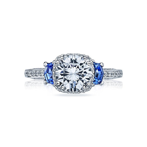 Tacori Dantela 18K White Gold Sapphire Diamond Engagement Ring