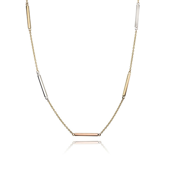 14K Tri Colour Gold Bar Necklace