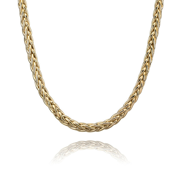 10K Yellow Gold Hollow Franco Link Necklace