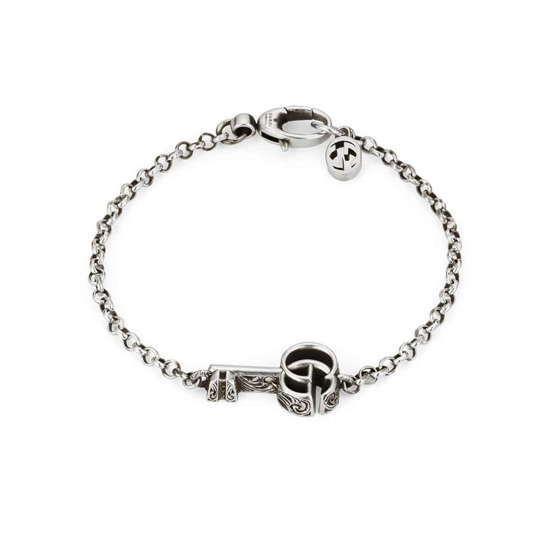 Gucci Sterling Silver Marmont GG Aged Key Bracelet