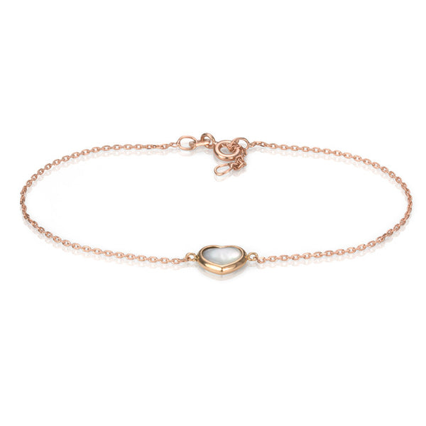 18K Rose Gold Mother of Pearl Heart Bracelet