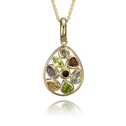 14K Yellow Gold Multi Coloured Cubic Zirconia Pendant