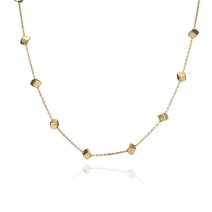 18K Yellow Gold Geometric Necklace