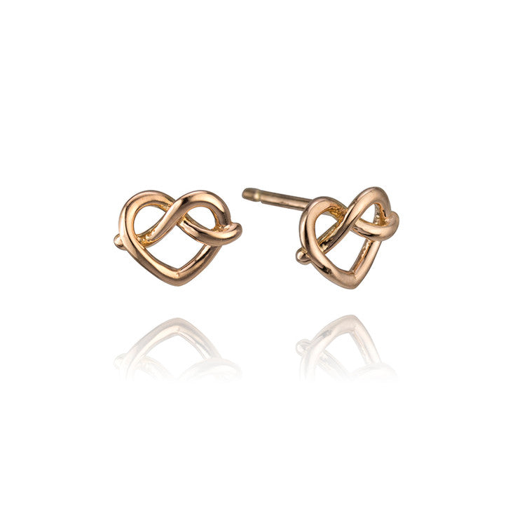 18K Rose Gold Knotted Heart Stud Earrings