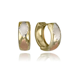 10K Tri Colour Gold Huggie Hoop Earrings