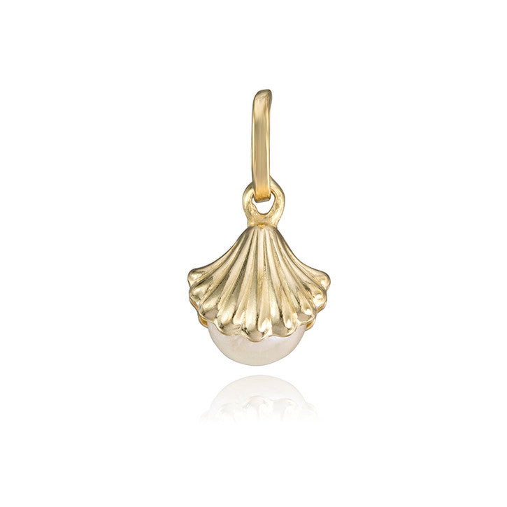 14K Yellow Gold Clam Shell Pendant with Freshwater Pearls