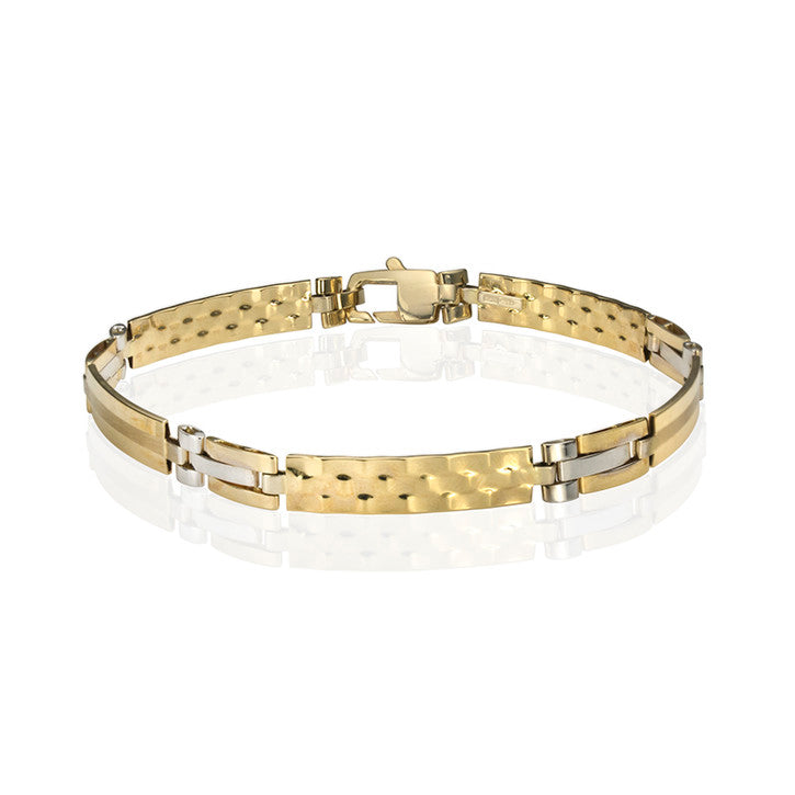 14K Yellow and White Gold Men's Bracelet