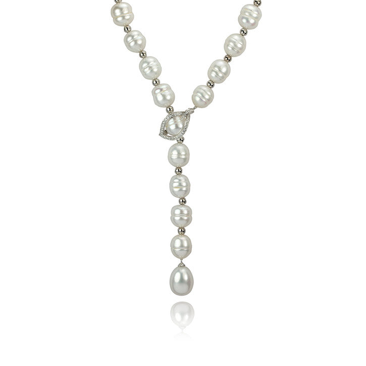 14K White Gold Freshwater Pearl and Diamond Drop Necklace