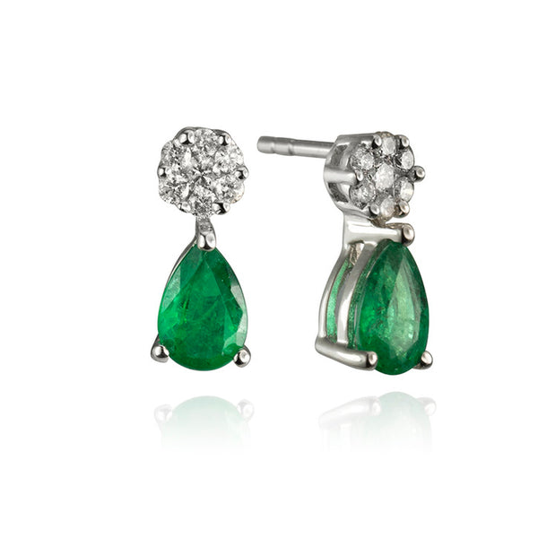 14K White Gold Emerald and Diamond Drop Earrings