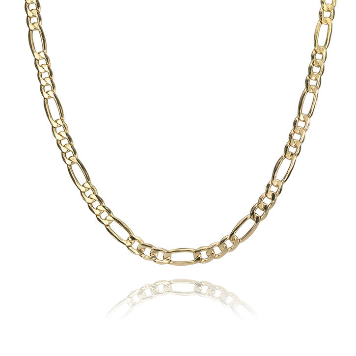 14K Yellow Gold Figaro Link Necklace