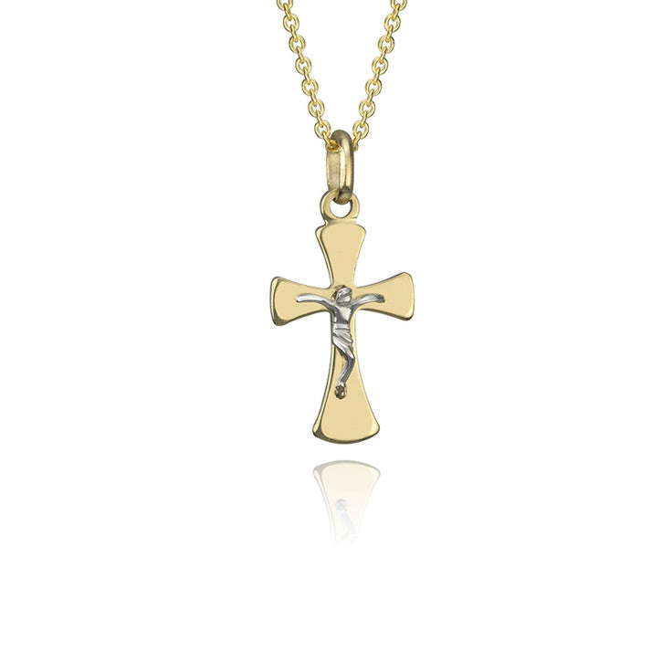 18K Yellow and White Gold Two Tone Cross Pendant