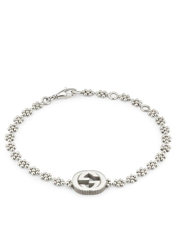 Gucci Silver Interlocking G Flower Link Bracelet