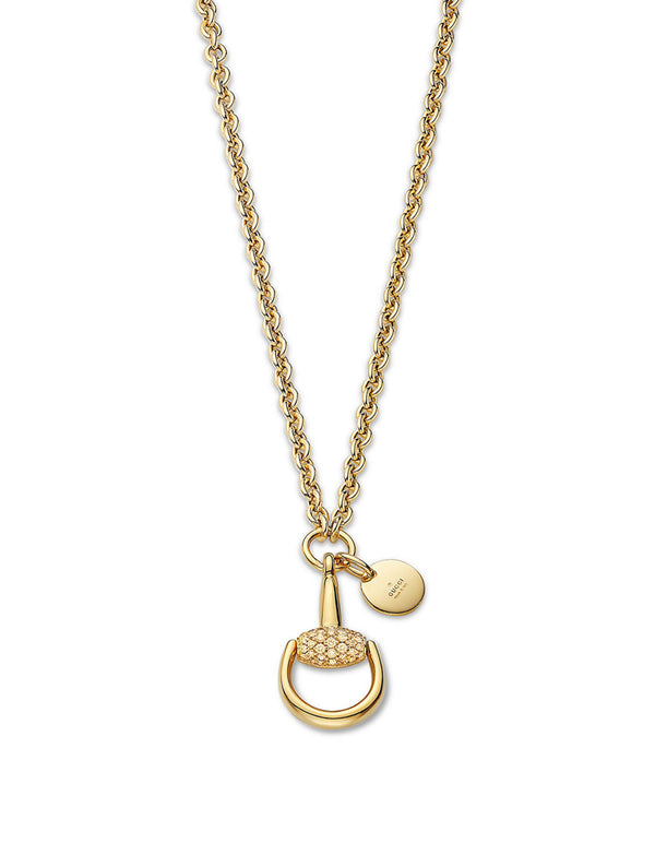 Gucci 18K Yellow Gold Diamond Horsebit Necklace