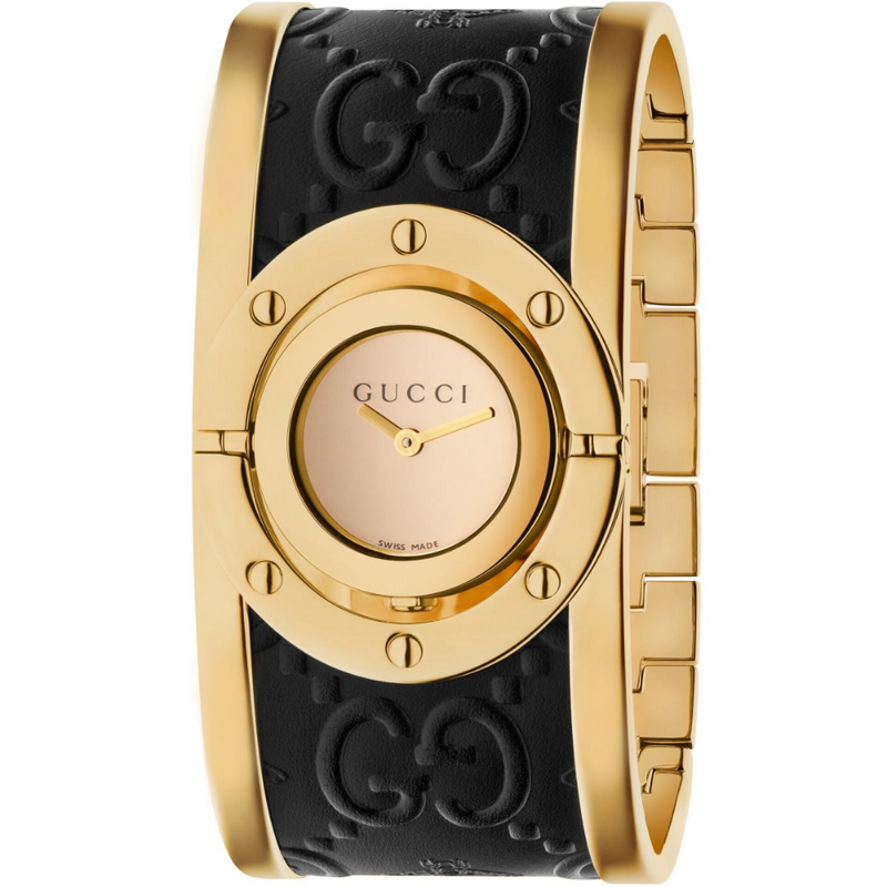 Gucci Two Tone Gold Twirl Bangle Watch