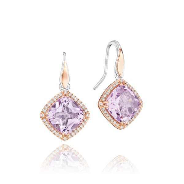 Tacori Crescent Crown Pavé Bloom Drop Earrings featuring Rose Amethyst