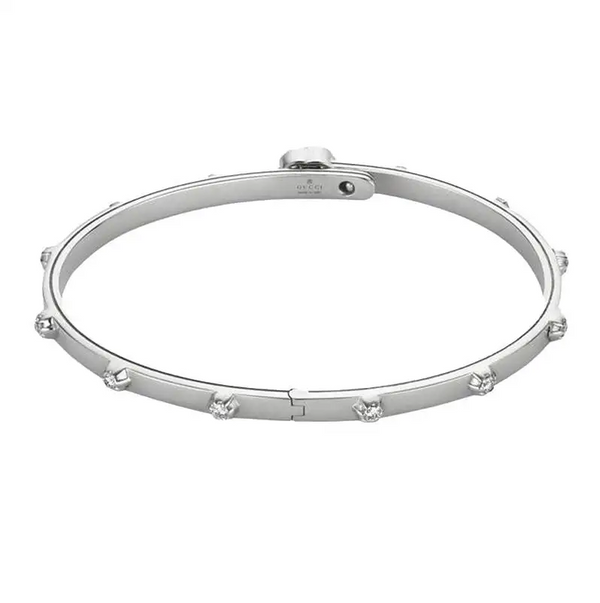 Gucci White Gold GG Running Diamond Bracelet