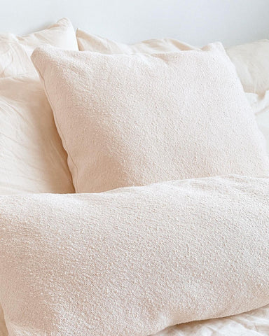 close up of organic cotton pillows