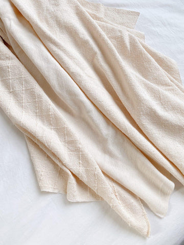 three fabrics shown overlapping