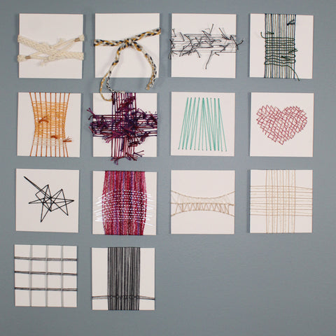 Image of 14 small weavings displayed in a grid. They are varying colors and styles.