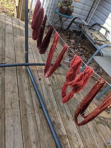 Dyed yarn hung to dry.