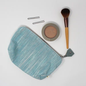 Teal Stripe Zippered Pouch