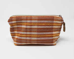 Peach Stripe Zippered Pouch