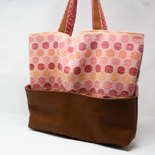 Load image into Gallery viewer, Large Tote Bag - Pink and Brown Polka Dot