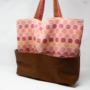 Large Tote Bag - Pink and Brown Polka Dot