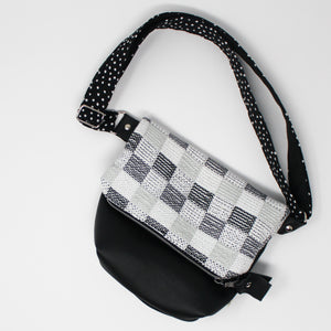 Black and Gray Checkerboard Leather Purse
