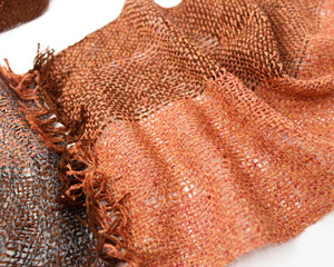 Silk Summer Weight Infinity Scarf - Burnt Umber