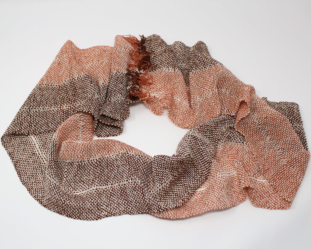 Silk and Hemp Summer Weight Infinity Scarf - Campfire