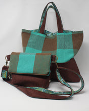 Load image into Gallery viewer, Brown and Teal Check Tote Bag