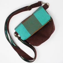 Load image into Gallery viewer, Teal & Brown Wool Purse