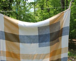 Denim & Gold Patchwork Throw Blanket