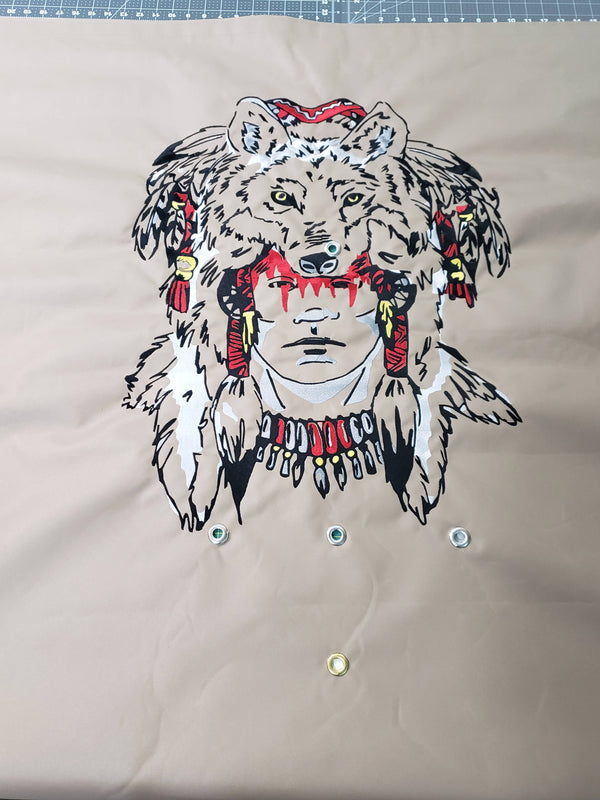 "Man with Raccoon Headdress Embroidered Tonneau Cover - Standard Bed 6' 6"" - GM"