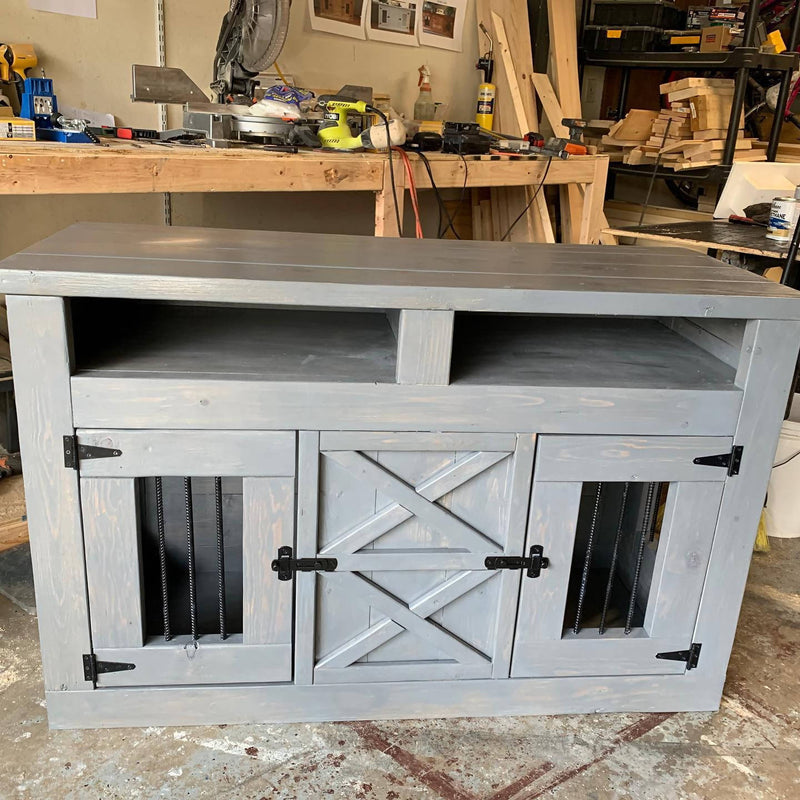 Double Medium Dog Crate with open shelves