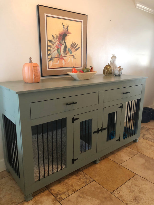 Contemporary Double Dog Crate with drawers- Small