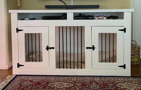 Double small dog crate with open shelves