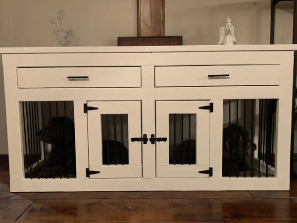 Contemporary Double Dog Crate with drawers- Medium