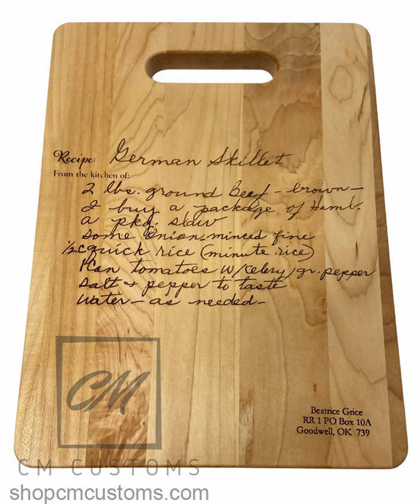 Laser engraved cutting board with handwritten recipe