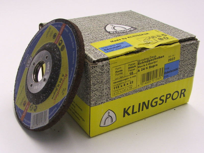 Grinding disc 115 x 6 x 22mm depressed centre Klingspor A24N supra stainless steel 2923