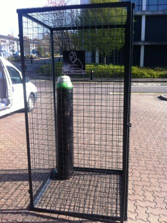 Gas cylinder storage cage 1.2 x 1.0 x 1.0 metre powder coated