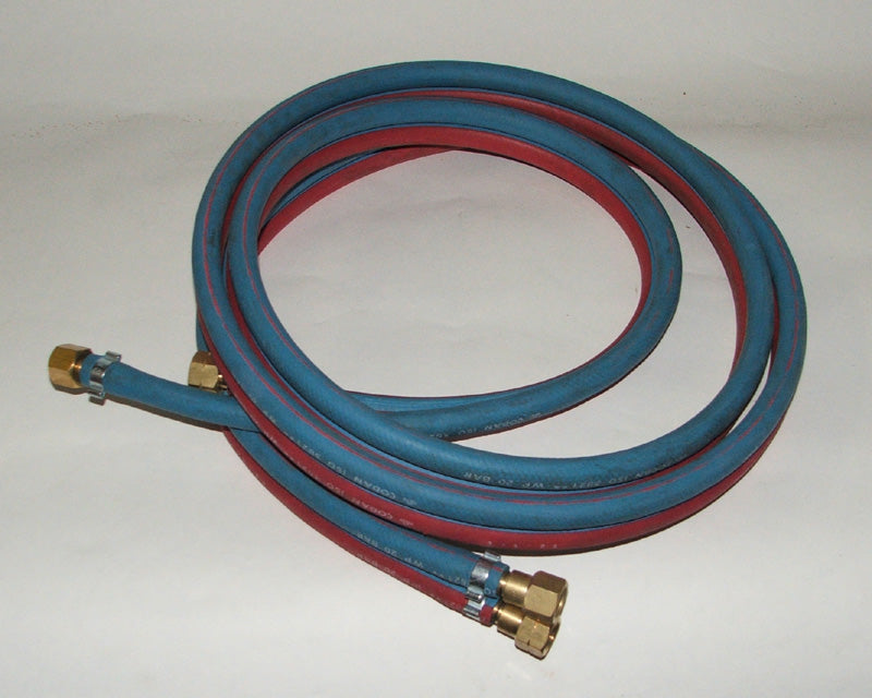 Hose set twin oxygen/acetylene 20mtr x 6.5mm dia fitted hcv 10mm