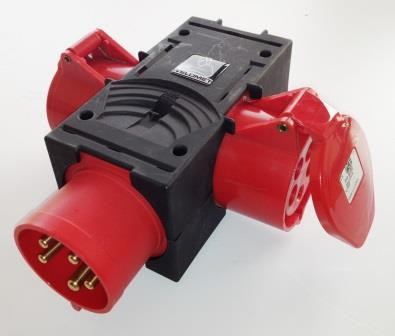 Industrial 3 way adaptor - 5 pin 32a  to  2 x 5 pin 32a sockets