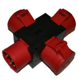 Industrial 4 way adaptor - 5 pin 32a  to  3 x 5 pin 32a sockets