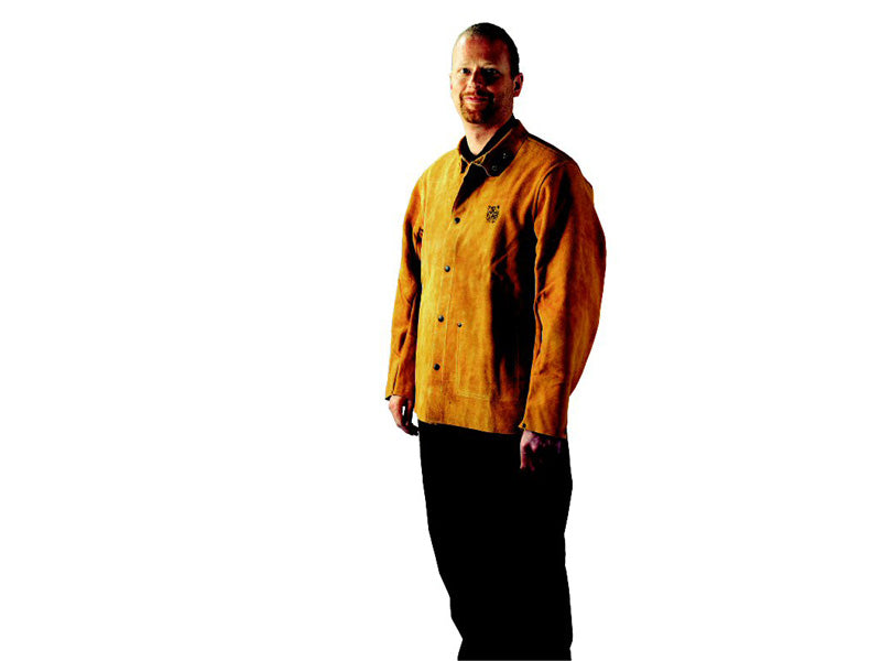 Welders jacket heavy duty leather kevlar stitched - large 42-44""